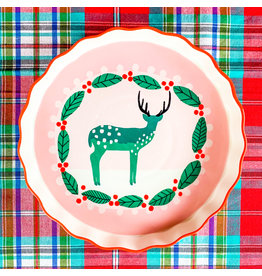 """Creative Co-Op Round Deer Pie Plate 10"""""""