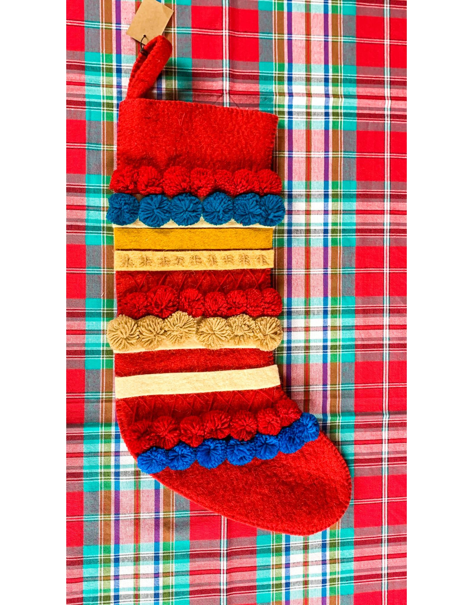 Creative Co-Op Wool Stocking w Pom