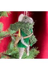 Creative Co-Op Wool Felt Mouse Green Coat
