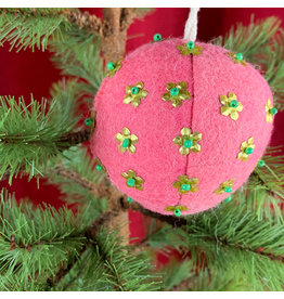 Creative Co-Op Wool Ornament W Metal Dark Pink