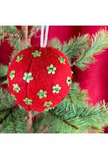 Creative Co-Op Wool Ornament W Metal Red