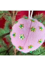 Creative Co-Op Wool Ornament W Metal Light Pink