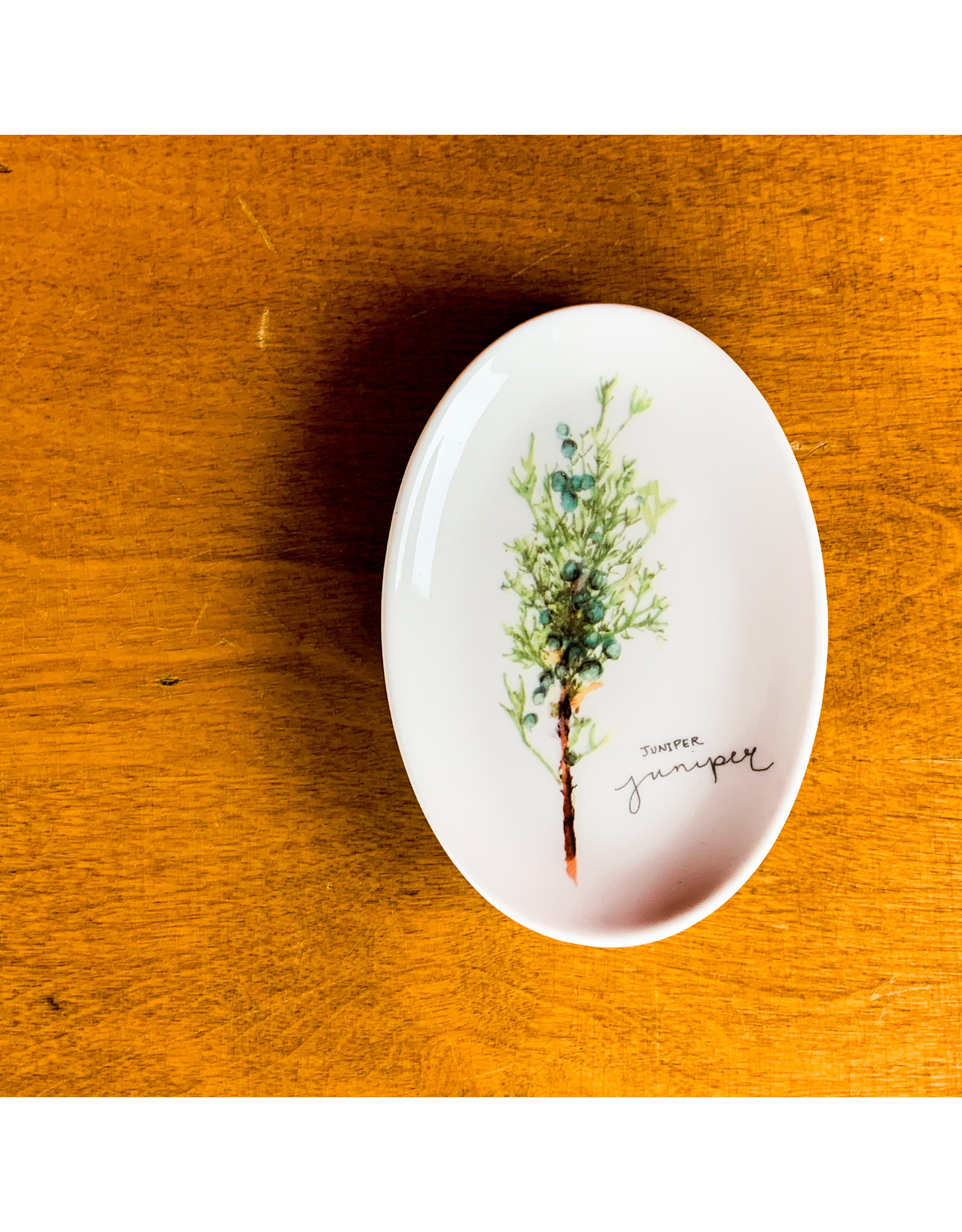 Creative Co-Op Oval Stoneware Twig Plate Juniper