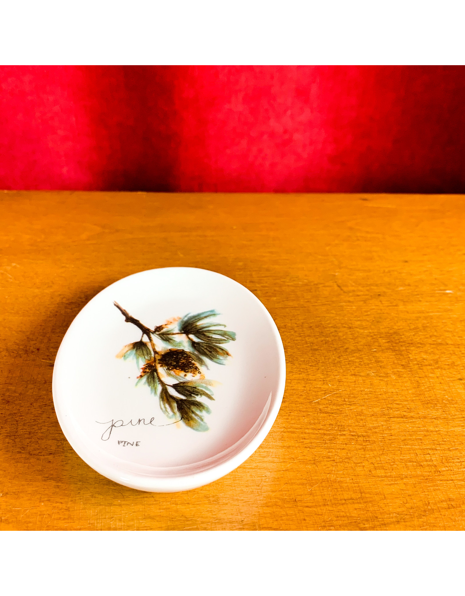 Creative Co-Op Oval Stoneware Twig Plate Pine