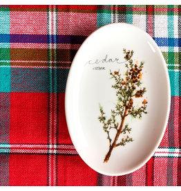 Creative Co-Op Round Stoneware Twig Plate Cedar