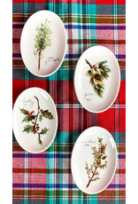 Creative Co-Op Oval Stoneware Twig Plate Holly