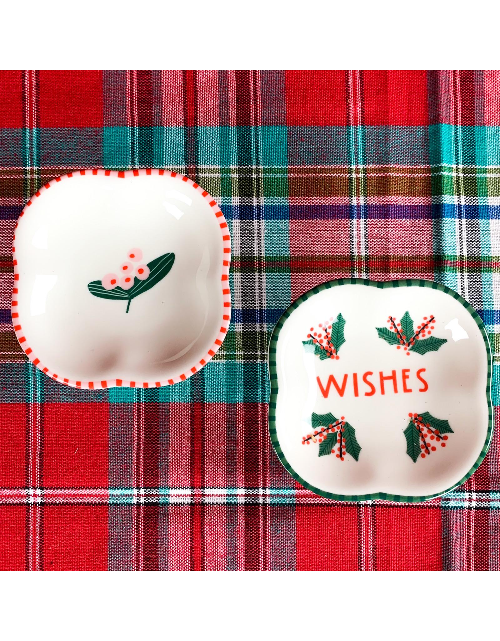 Creative Co-Op Square Stoneware Dish Wishes