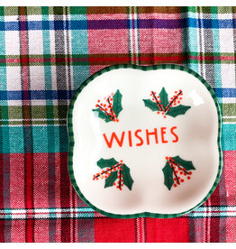 Creative Co-Op Square Stoneware Dish Wishes