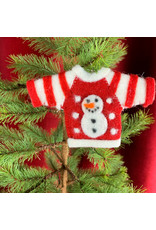 Creative Co-Op Wool Felt Sweater Snowman