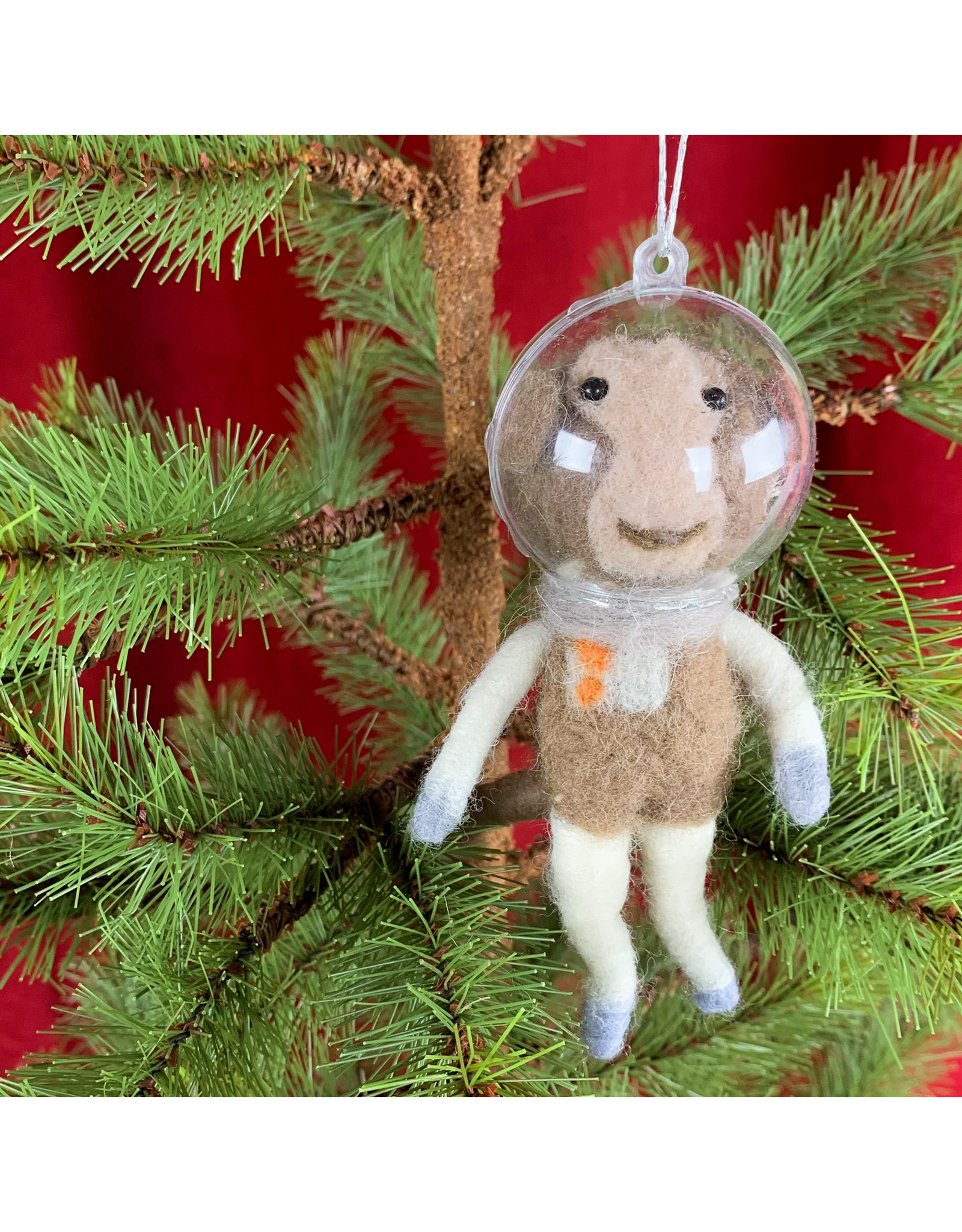 Creative Co-Op Wool Felt Astronaut Monkey