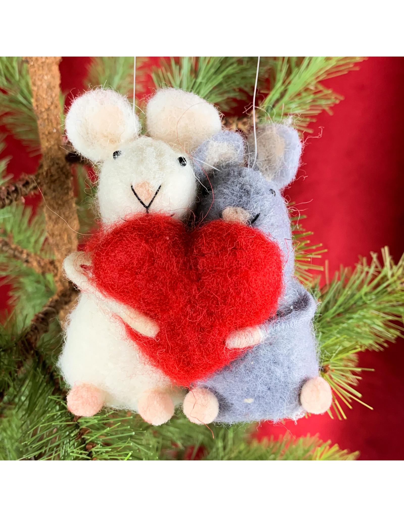 Creative Co-Op Wool Felt Mice with Heart