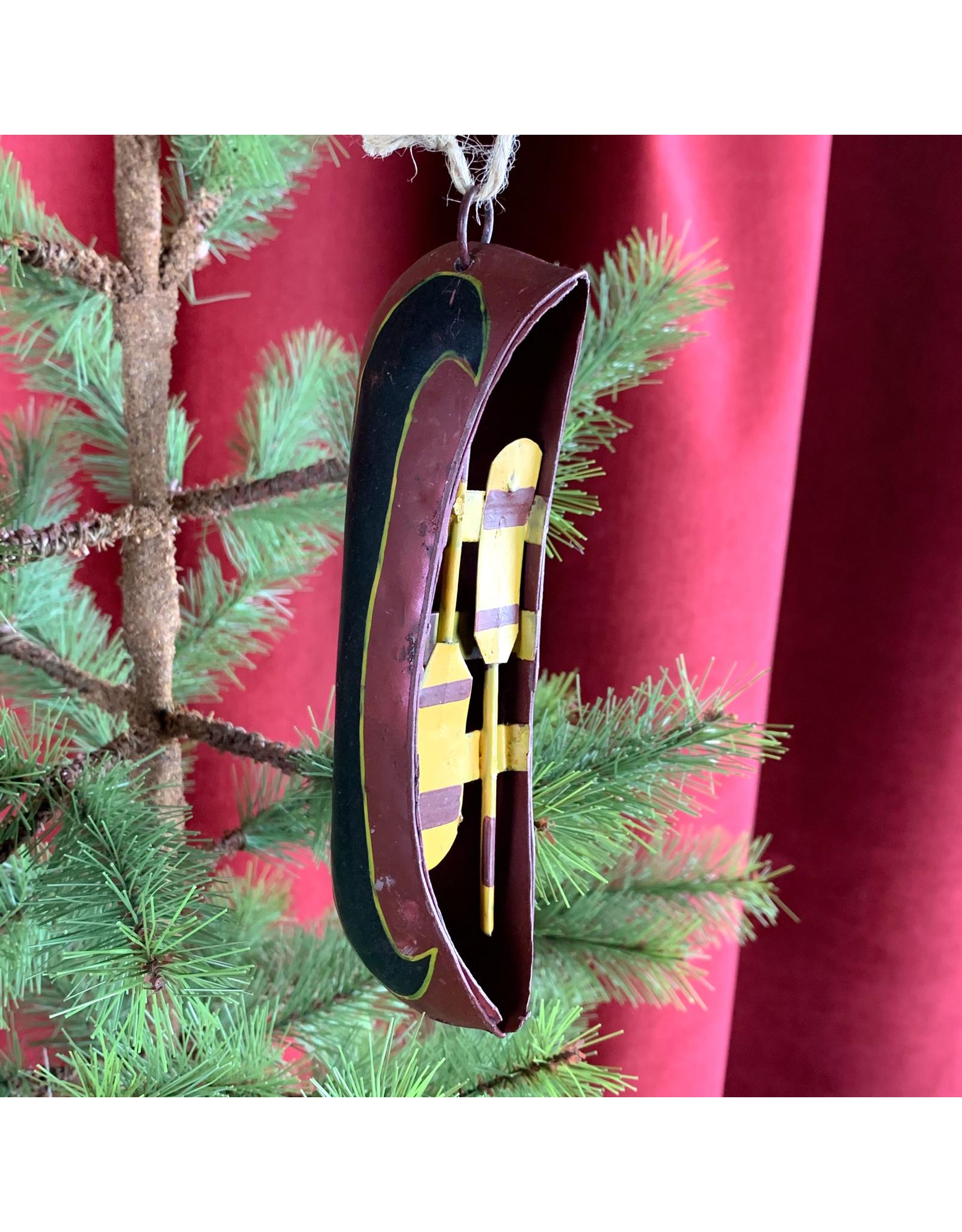Creative Co-Op Metal Canoe Ornament