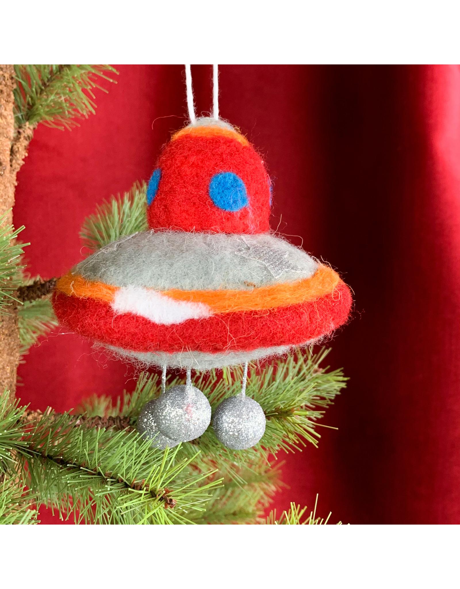 Creative Co-Op Wool Felt UFO Ornament