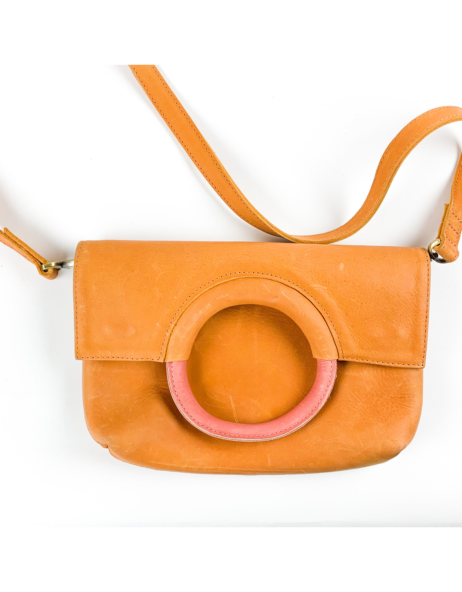 Able Fozi Ring Crossbody - Cognac and Rose