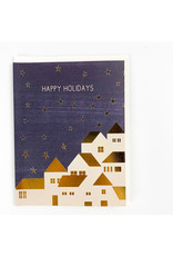 Red Cap Cards Gold Houses Holiday