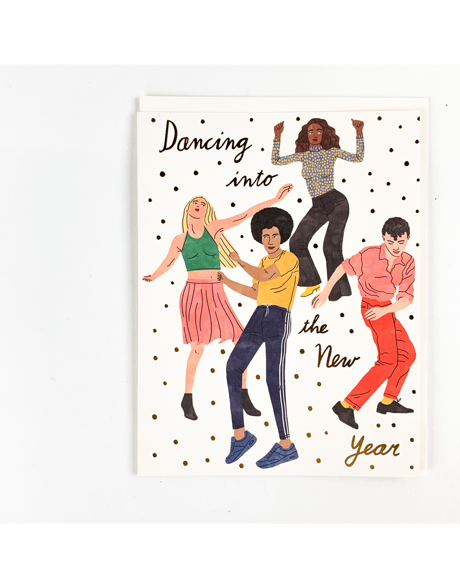 Red Cap Cards Dancing into New Years  Holiday