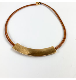 Joy Accessories Gold bar leather necklace-camel