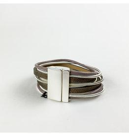 Joy Accessories Silver Coil bracelet- taupe
