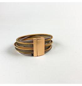 Joy Accessories Gold Coil bracelet- taupe
