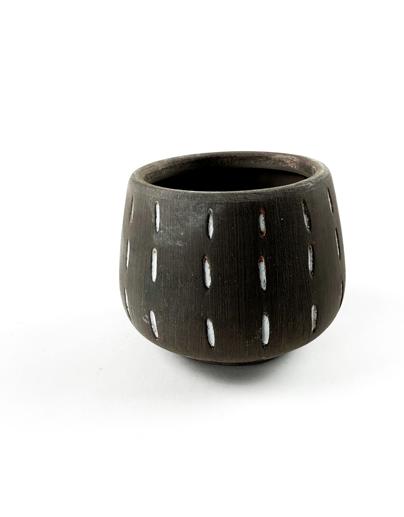 Creative Co-Op Terra Cotta Planter - Grey Lined