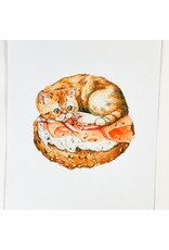 Stay Home Club Bagel Cat Riso Print