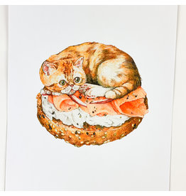 Stay Home Club Bagel Cat Riso Print