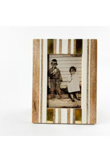 Creative Co-Op Brown and Ivory Striped Photo Frame