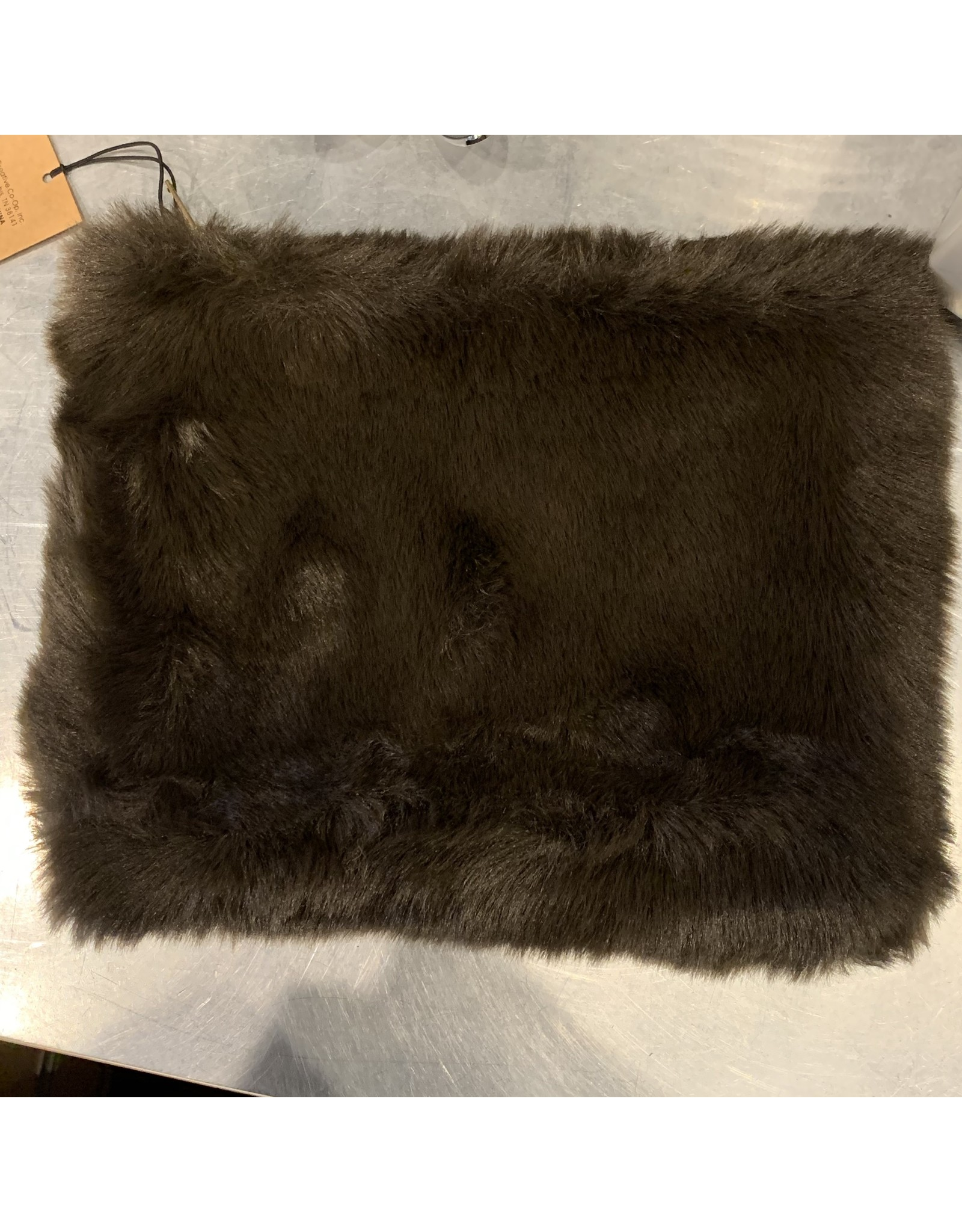 "Creative Co-Op Faux Fur Zip 8"" Brown"