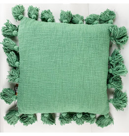 Creative Co-Op Green Tassels Pillow