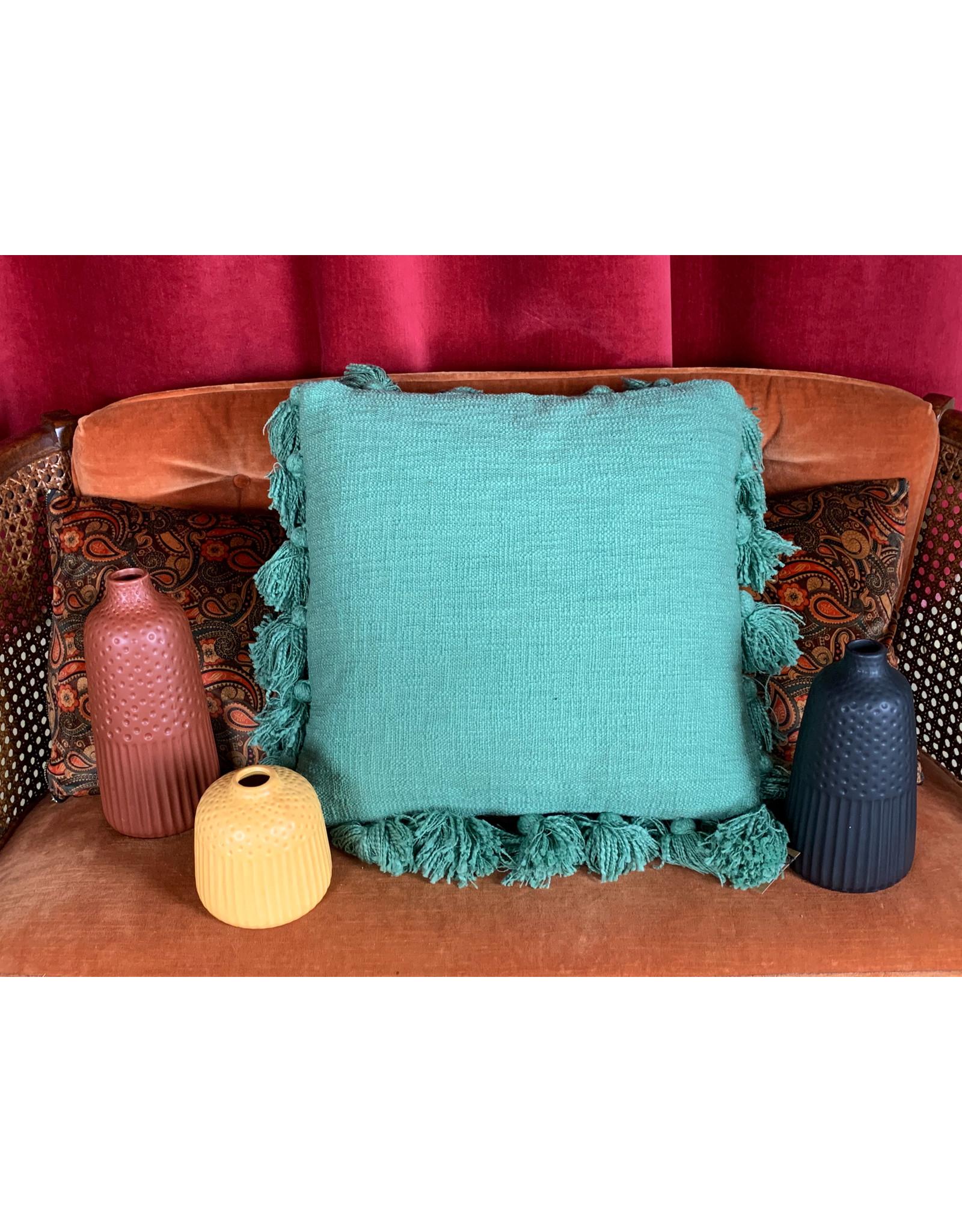 Creative Co-Op Green Tassels Pillow