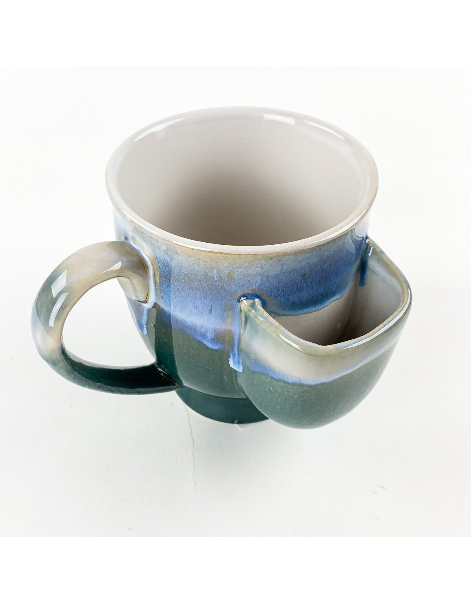 Creative Co-Op Stoneware Mug with Teal and Blue