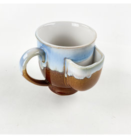 Creative Co-Op Stoneware Mug With Brown and Blue