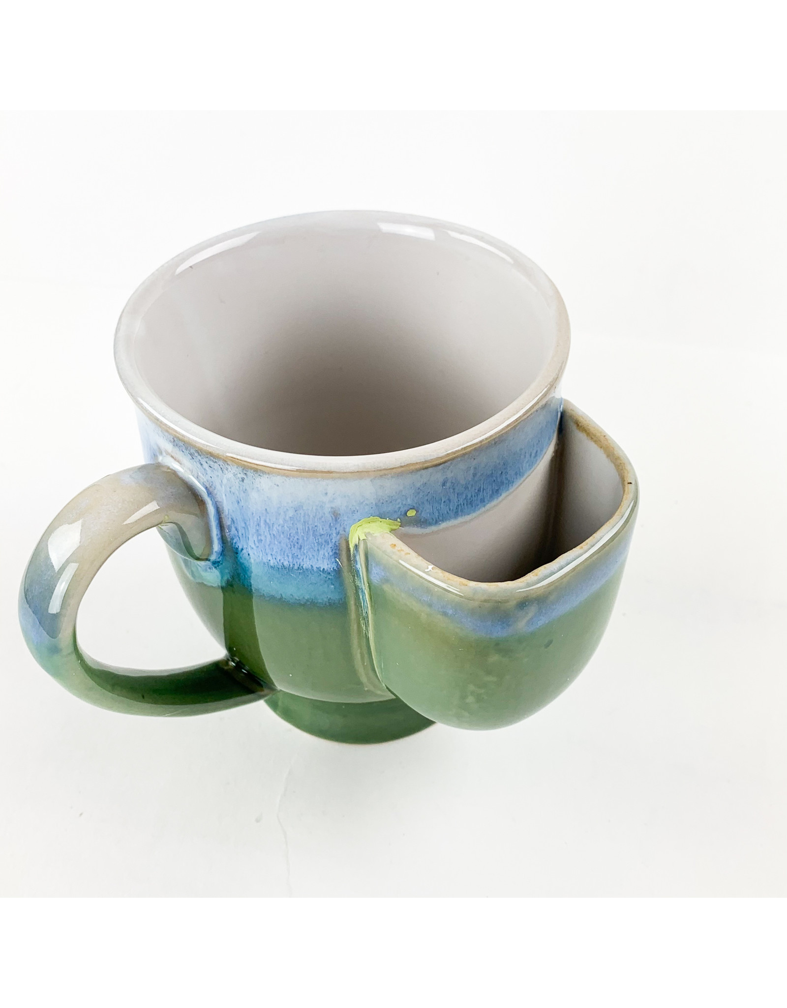 Creative Co-Op Stoneware Mug with Green and Blue
