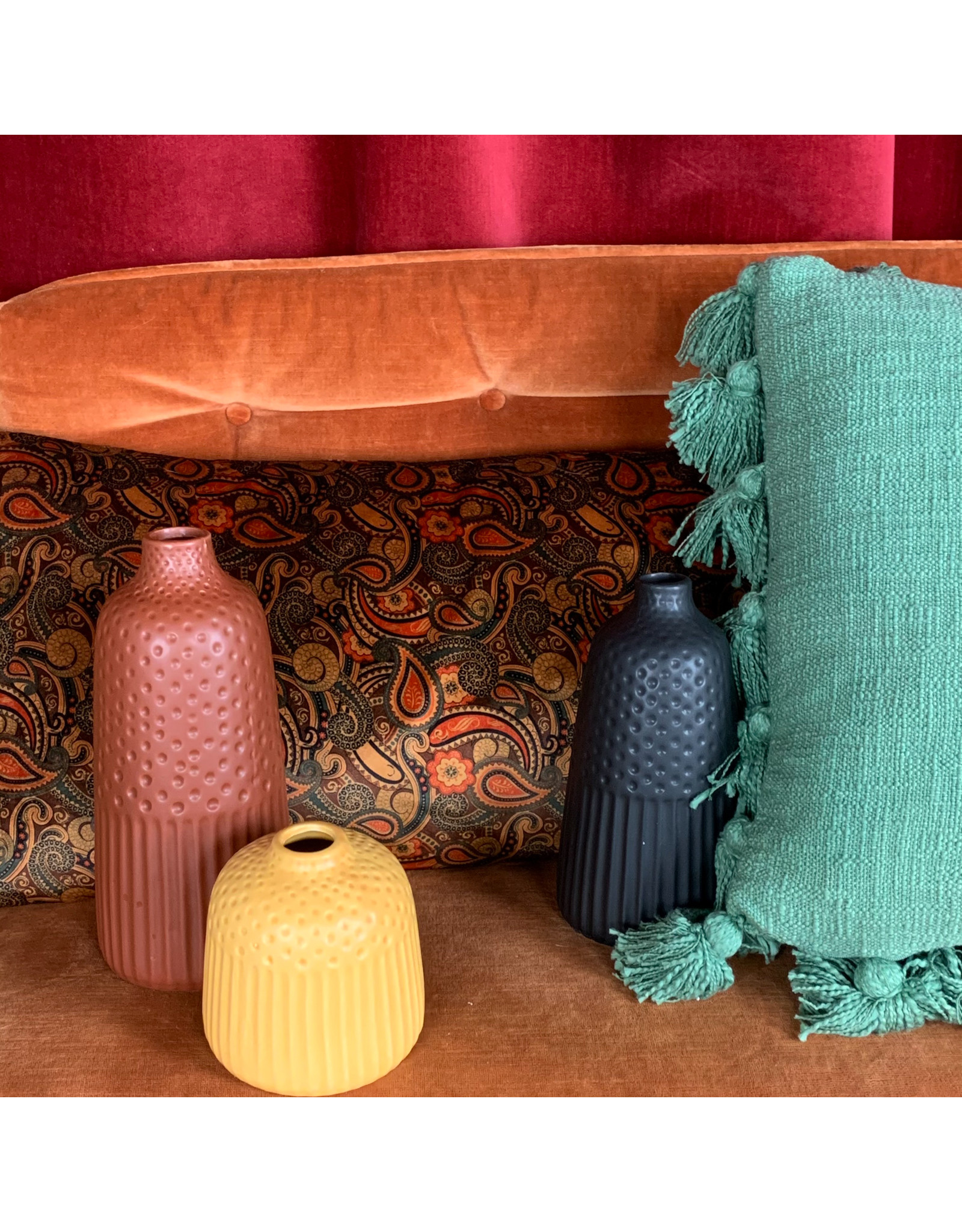 Creative Co-Op Embossed Stoneware Vase Yellow