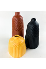 Creative Co-Op Embossed Stoneware Vase Black