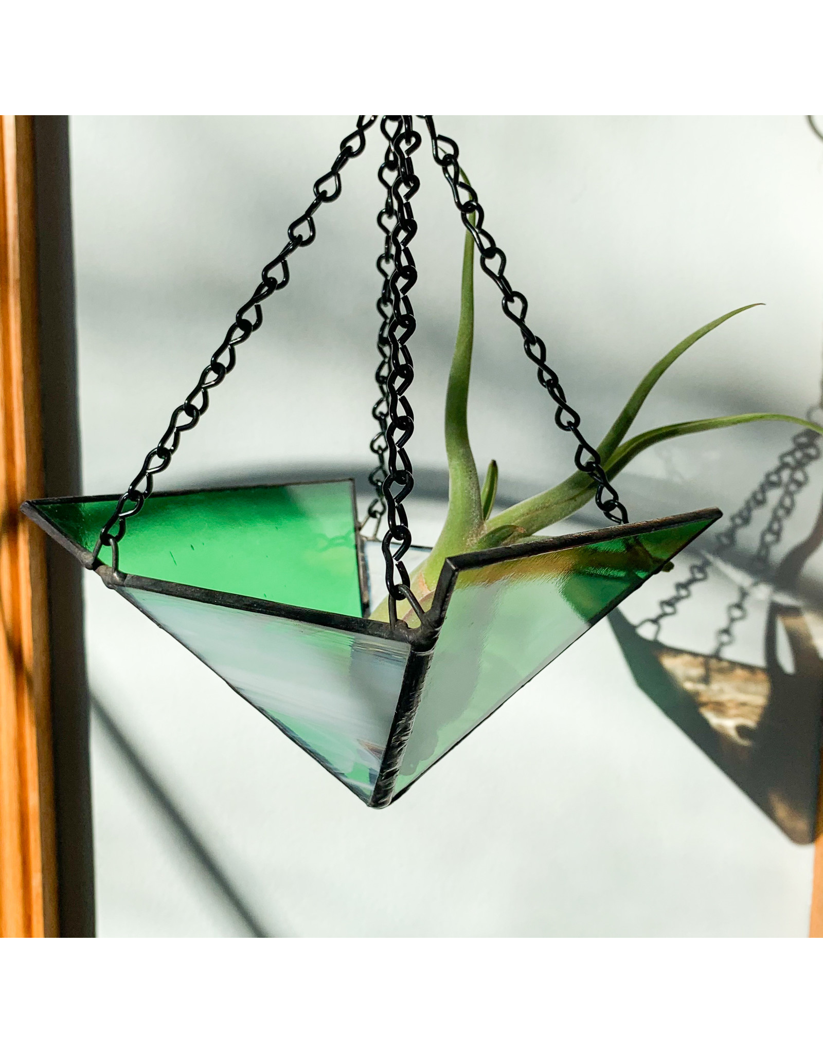 Reverberation Stained Glass Non Consignment XL Planter Green White