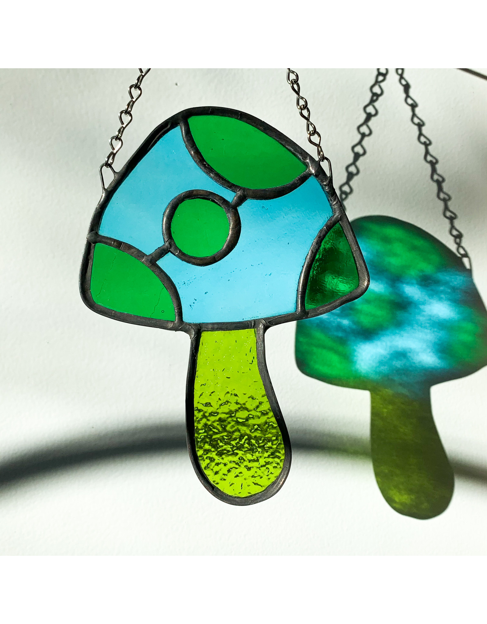 Reverberation Stained Glass - Consignment Mushroom  Green Blue Consignment