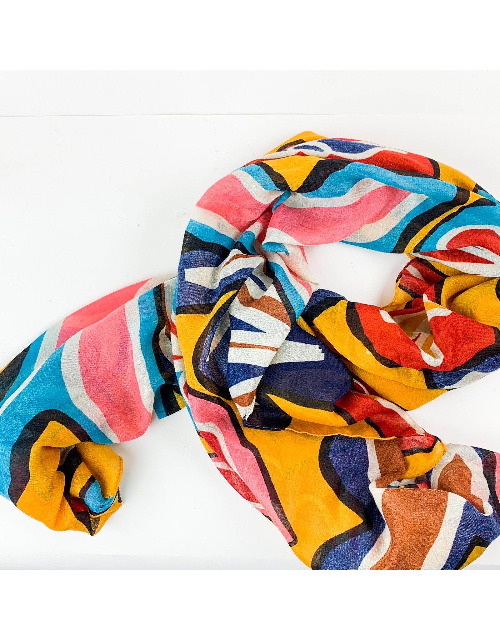 Joy Accessories Floral scarf- golden