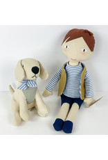 Creative Co-Op Linen Boy With Dog