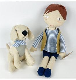 Creative Co-Op Linen Boy With Dog