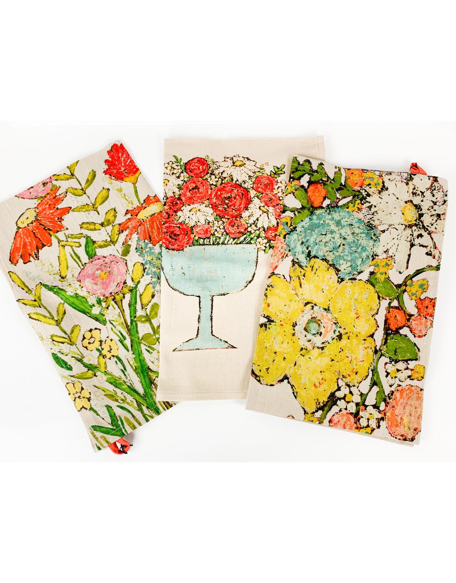 Creative Co-Op Floral towels-asst.