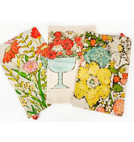 Creative Co-Op Floral towels-asst.