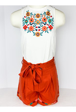 THML Embroidered Shorts With Belt Tie