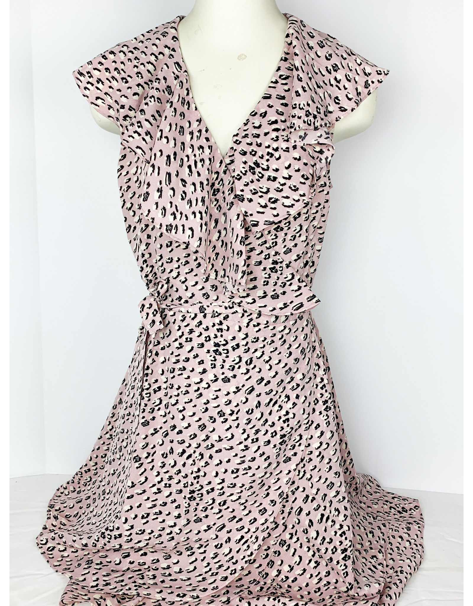 THML Spotted Ruffle Wrap Dress