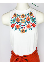 THML Embroidered White Sleeveless Top