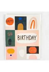 Red Cap Cards Color Block Birthday