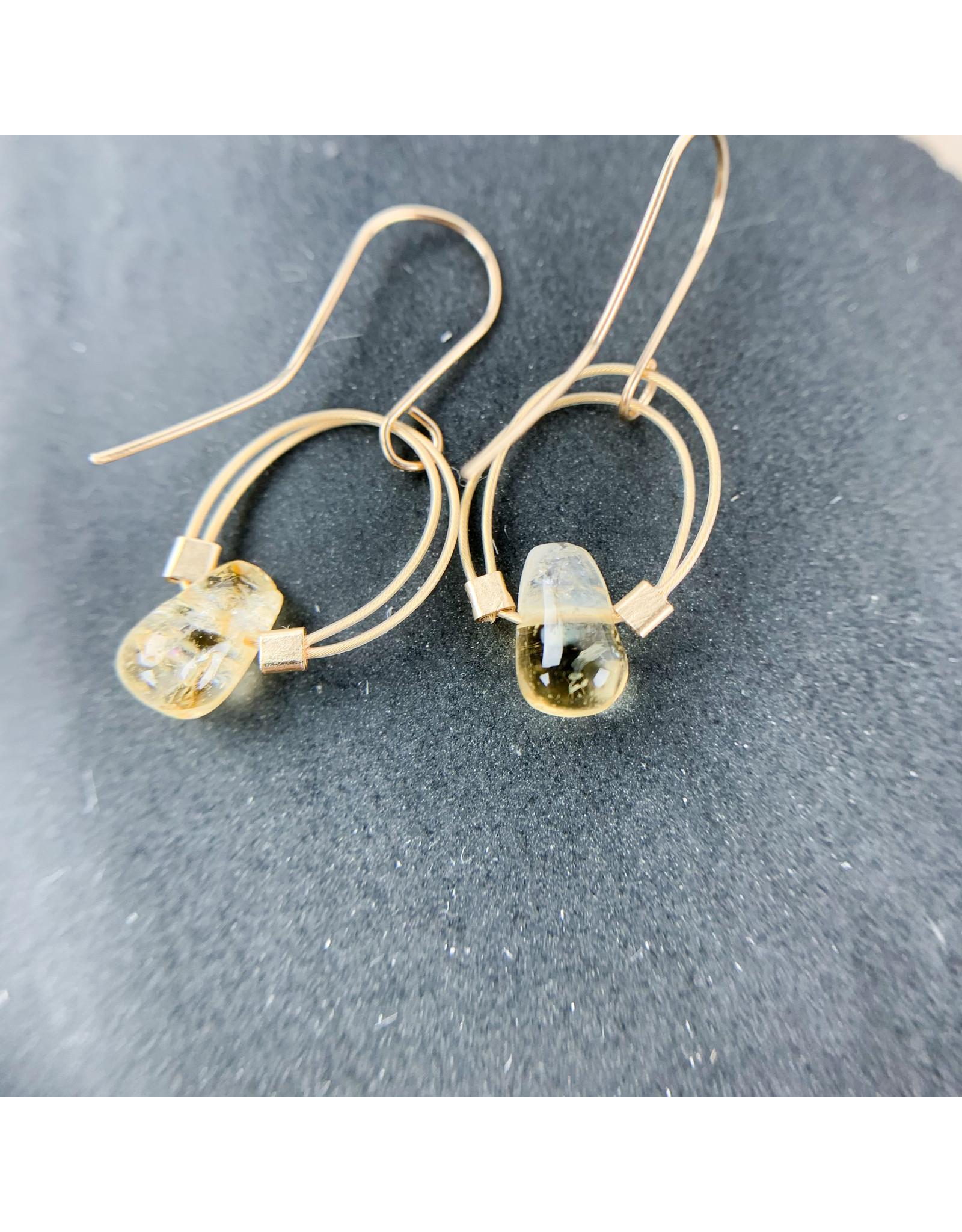 Nicole Collodoro Citrine Flex Wire Hoops Gold