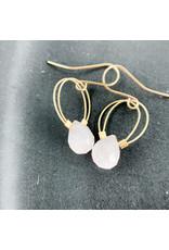 Nicole Collodoro Rose Quartz Flex Wire Hoops Gold