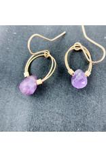 Nicole Collodoro Amethyst flex wire hoops gold