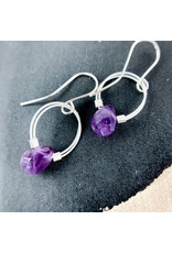 Nicole Collodoro Amethyst flex wire hoops silver